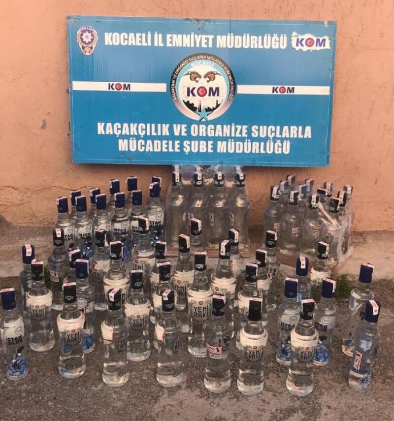 İzmit'te 181 şişe kaçak alkol ee geçirildi