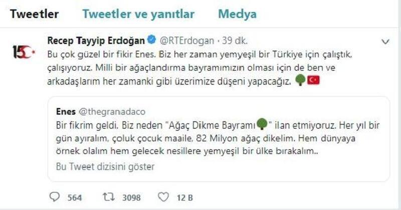 """Erdoğan'dan sosyal medyadaki """"Ağaç dikme bayramı"""" önerisine destek"""