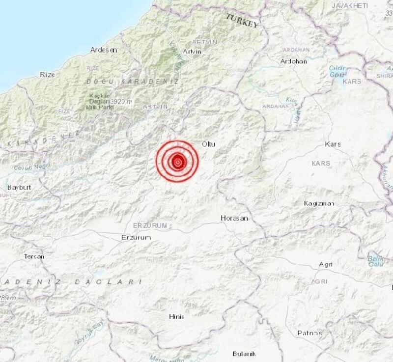 Oltu'da 4.3 büyüklüğünde deprem