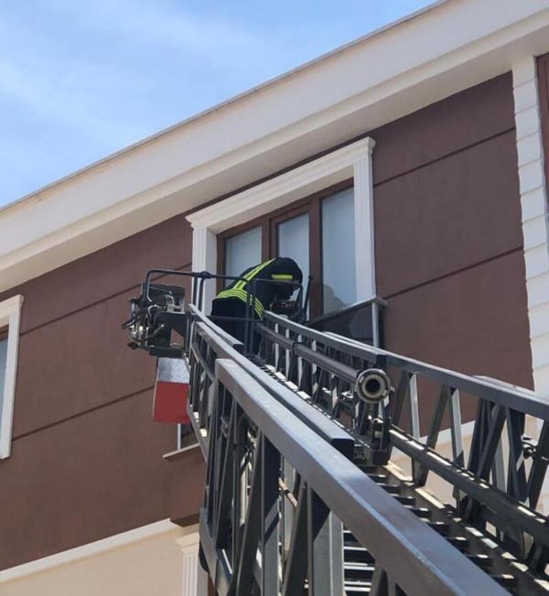 Balkon demirine sıkışan kuşu itfaiye kurtardı