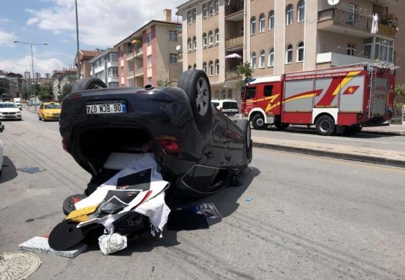 Ankara'da takla atan otomobilin sürücüsü yaralandı