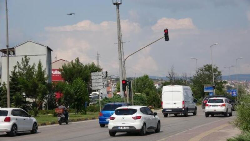 Karabük'te 'Drone' ile kırmızı ışık denetimi