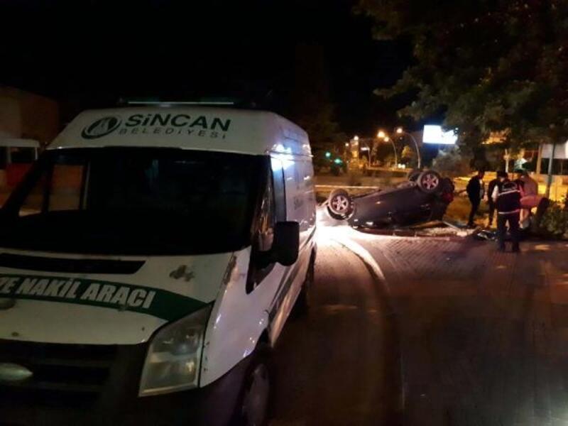 Ankara'da, takla atan otomobilin sürücüsü öldü