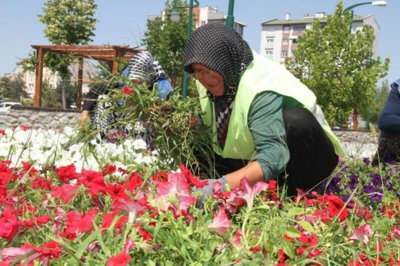 Kayseri'de parkların bakım ve temizliğini kadınlar yapıyor