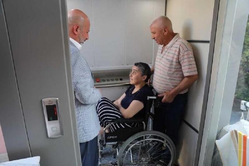 Belediyeden engelli Havva için asansör