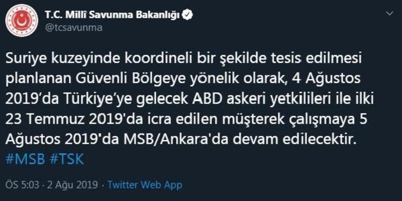 MSB: ABD askeri yetkililer ile müşterek çalışmalar Ankara'da devam edecek