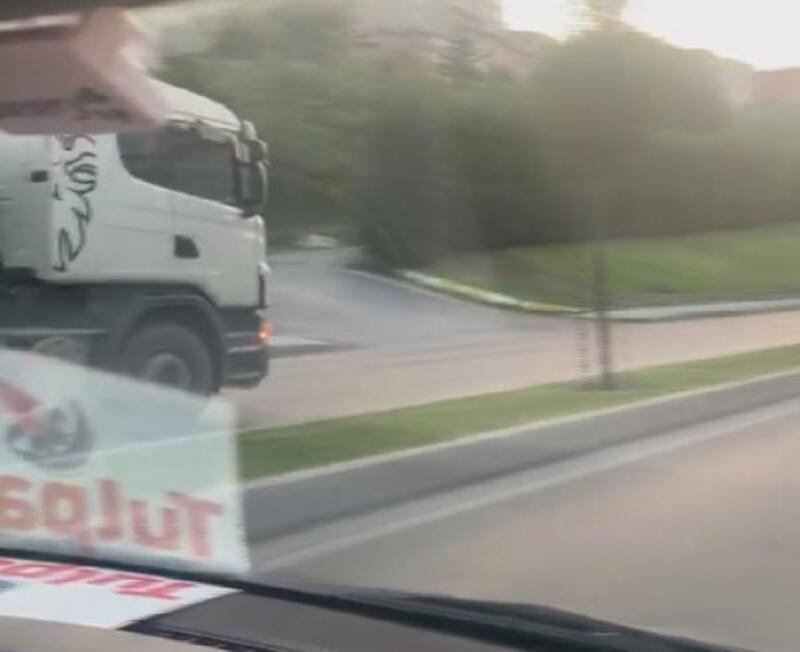Gaziosmanpaşa'da ters şeritte ilerleyen hafriyat kamyonu kamerada