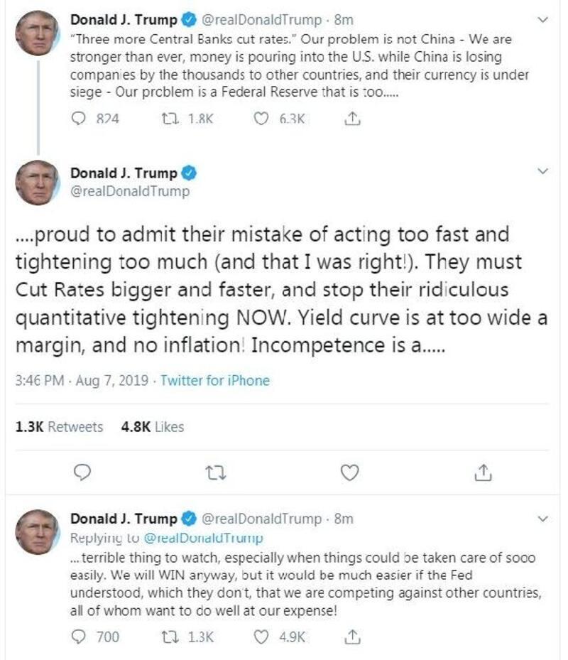 Trump: Asıl sorun Çin değil, Fed'in hatasını kabul etmemesi