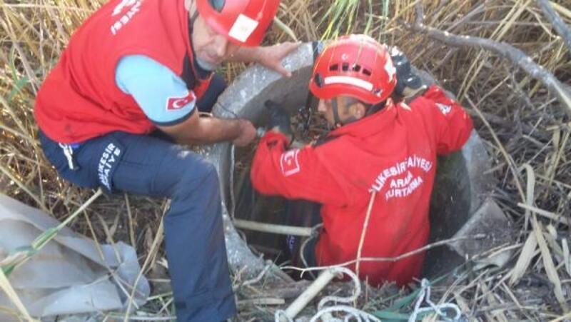 Kuyuya düşen yavru köpeği itfaiye kurtardı