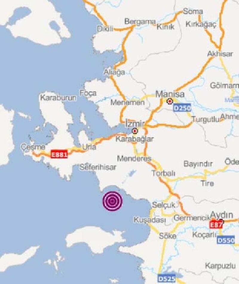 İzmir ve çevresi 4,8 büyüklüğündeki depremle sallandı