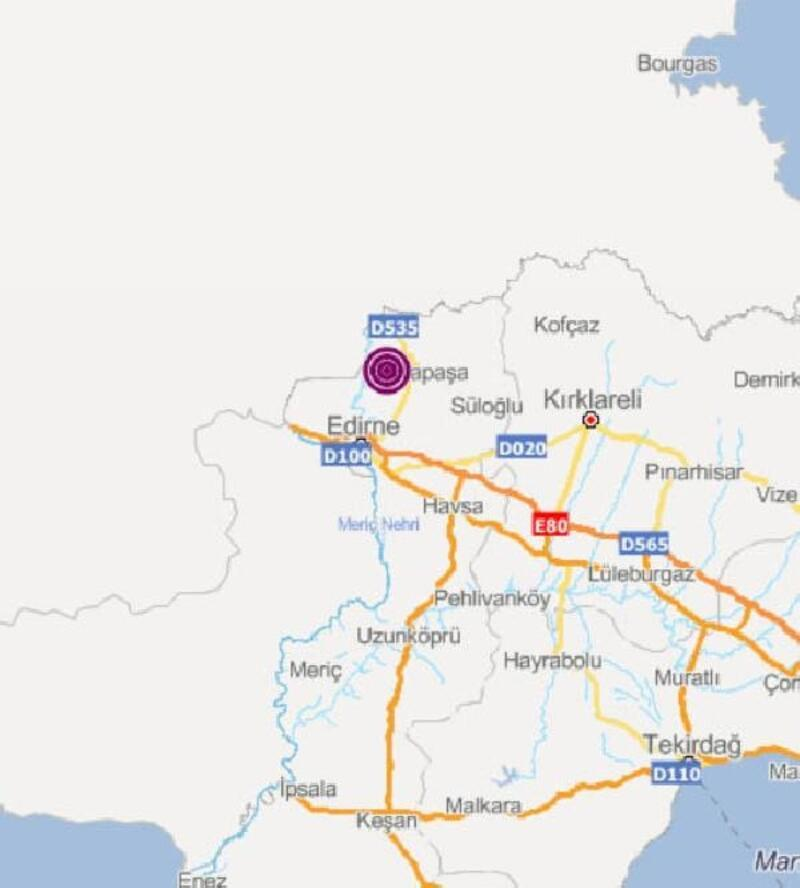 Edirne'de 3,6 büyüklüğünde deprem