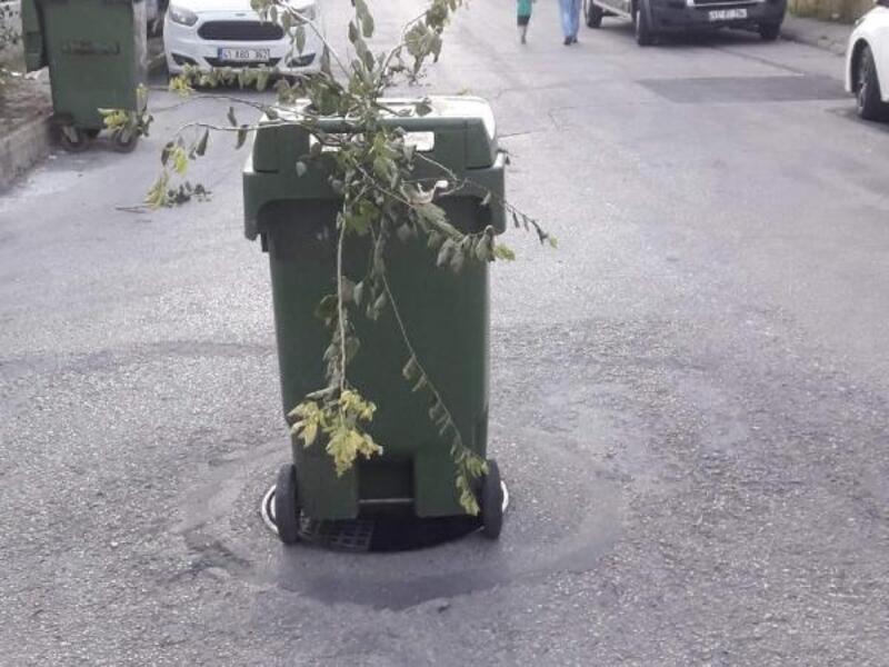 Rögarın kapağı çalındı, çevre sakinleriçöp kutusuyla önlem aldı