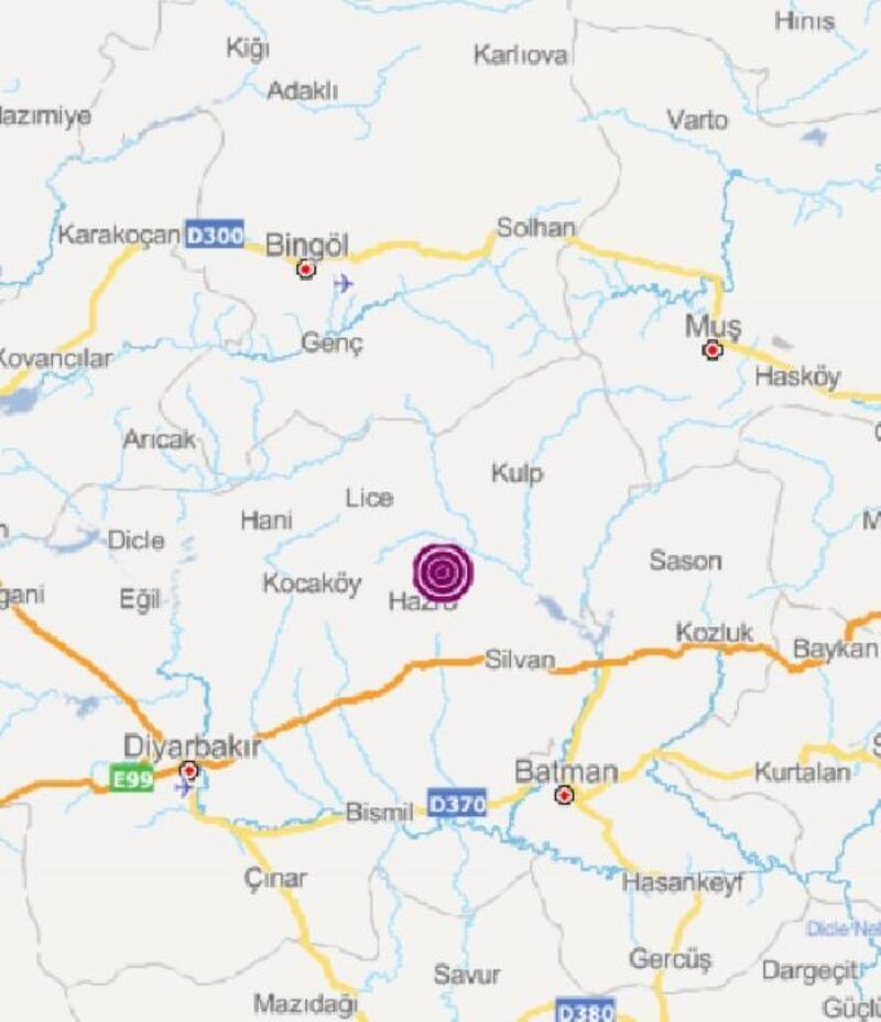 Hazro'da 3.6 büyüklüğünde deprem
