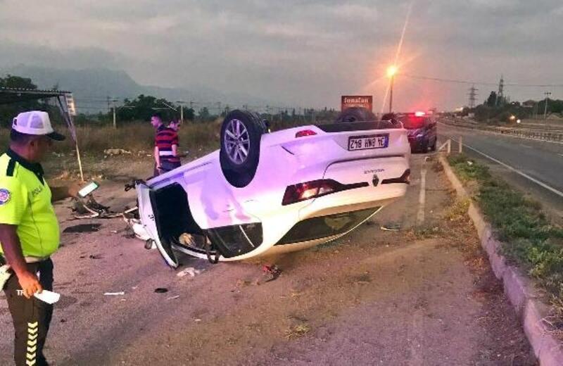 Refüje çarpan otomobil takla attı: 2 yaralı