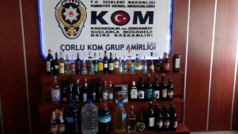 Çorlu'da kaçak içki satan işyerlerine baskın