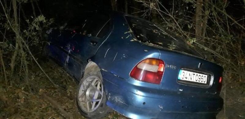 Otomobil yoldan çıkıp ağaçlara çarptı: 3 yaralı