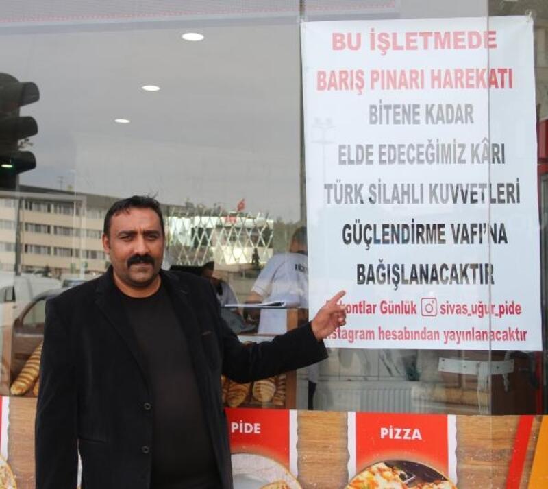 Sivas'ta fırın işletmecisi gelirini Mehmetçiğe bağışlayacak