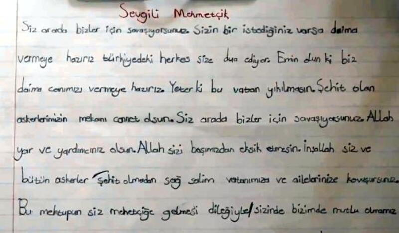 İlkokul öğrencisinden Mehmetçiğe duygulandıran mektup