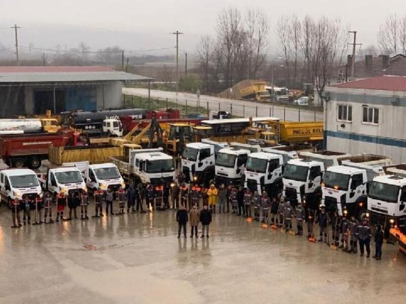 İnegöl Belediyesi ekipleri karla mücadeleye hazır