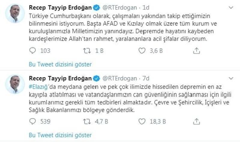 Erdoğan: Kurumlarımız tüm tedbirleri almaktadır