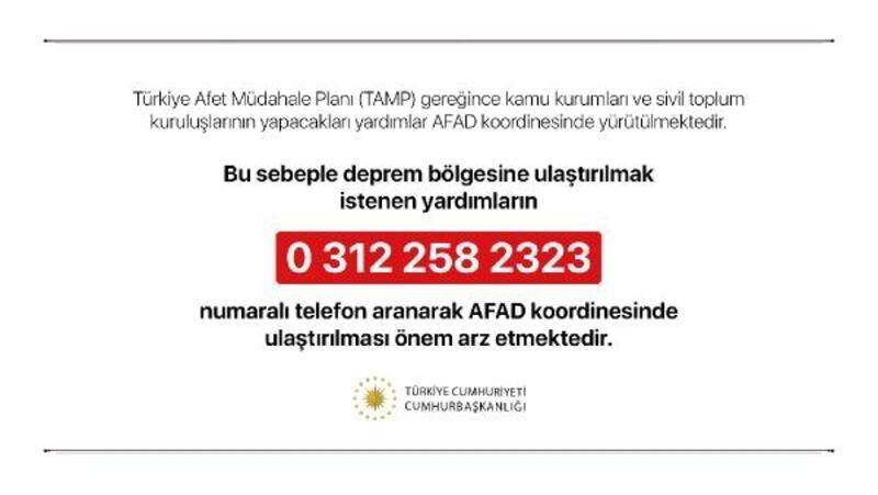 Cumhurbaşkanlığı'ndan 'deprem yardımları' açıklaması