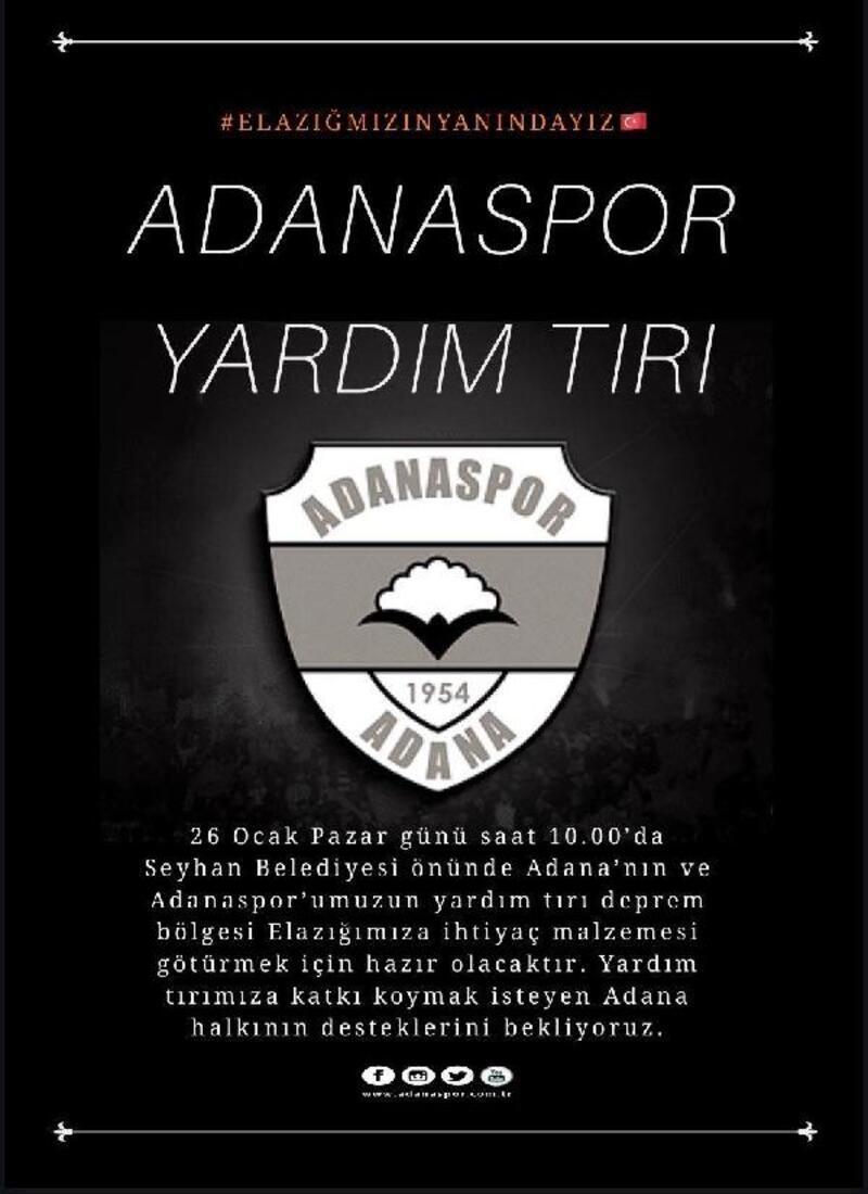 Adanaspor'dan Elazığ'a yardım TIR'ı