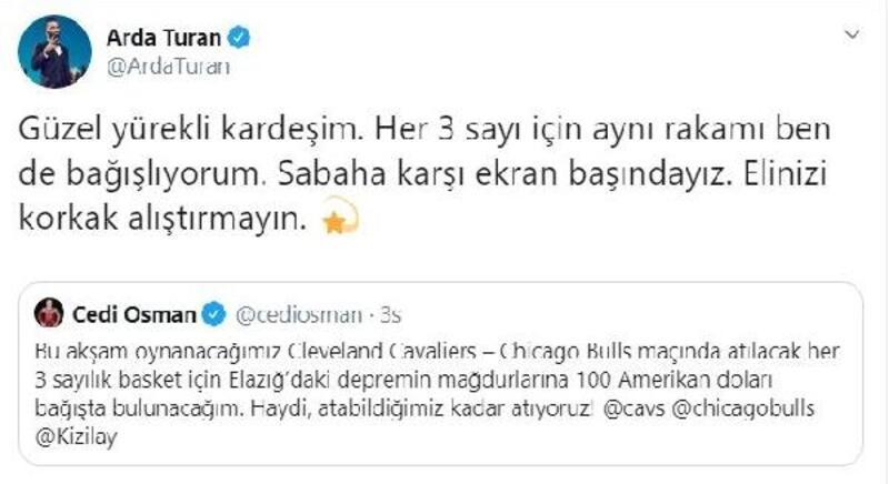 Arda Turan ve Nuri Şahin'den Cedi Osman'ın kampanyasına destek