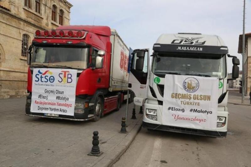 Sivas'tan deprem bölgesine 2 TIR'lık insani yardım
