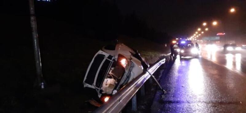 TEM'de otomobil takla attı: 1 yaralı