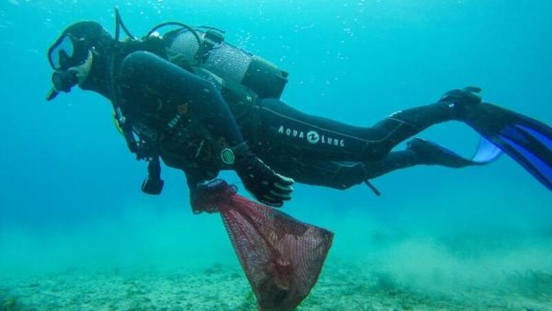 Bodrum'da deniz dibi temizlik çalışmasında geri sayım