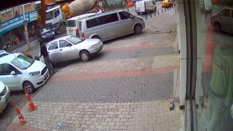 Güngören'de beton mikseri dehşeti kamerada