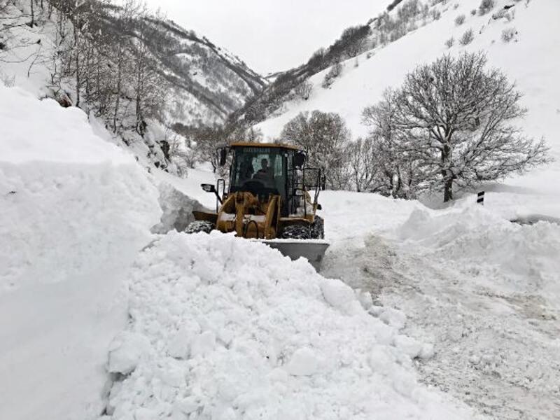 Muş'un dağ köylerinde zorlu karla mücadele