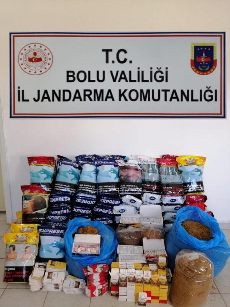 Mudurnu'da kaçak tütün satışı yapan kişi gözaltına alındı