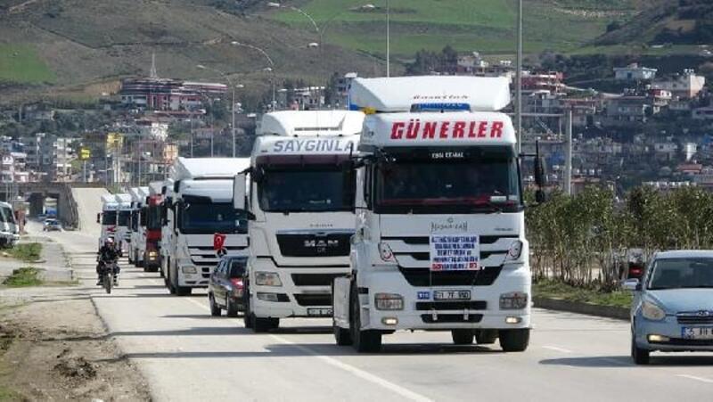 Altınözü kaptanlarından Mehmetçiklere destek konvoyu