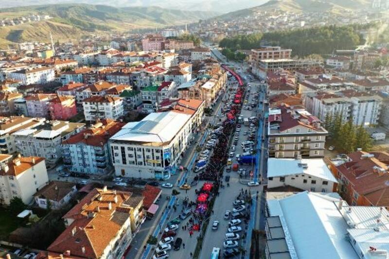 Erbaa'da İdlib şehitleri için yürüyüş