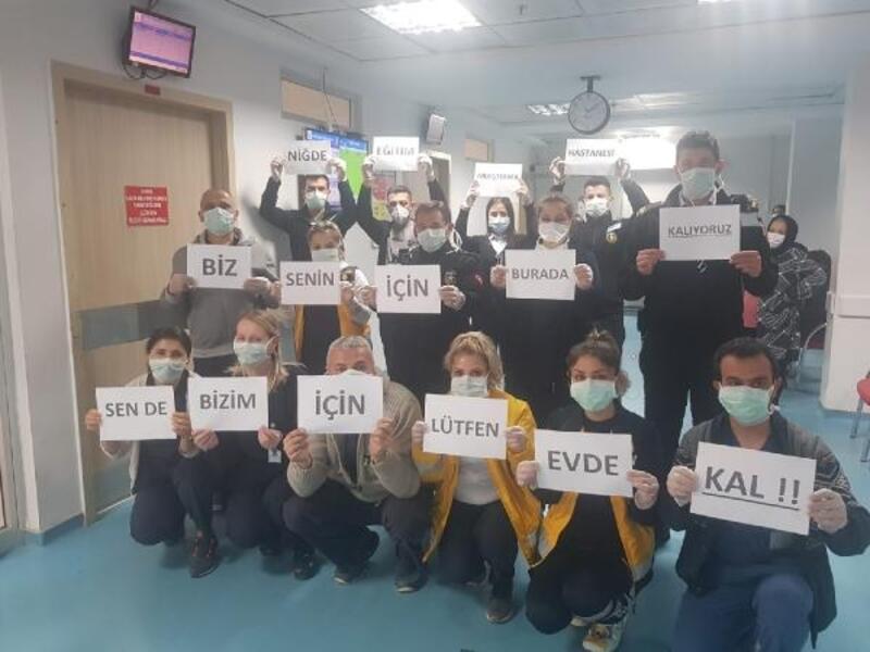 Niğde'de hastane çalışanlarından 'evde kal' çağrısı