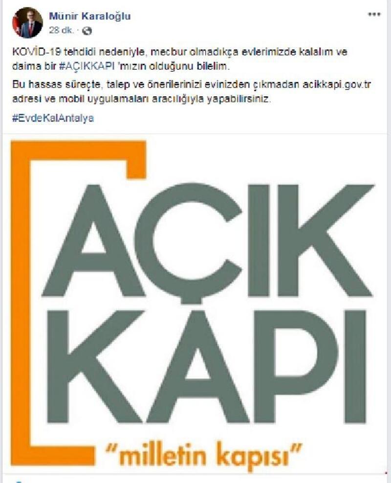 Vali Karaloğlu'ndan 'Evinde kal Antalya' çağrısı