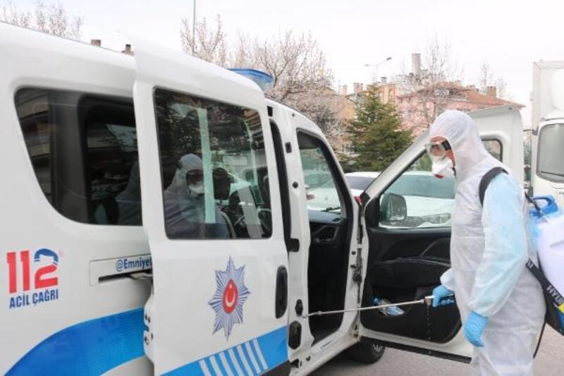 Nevşehir'de polis araçları dezenfekte edildi