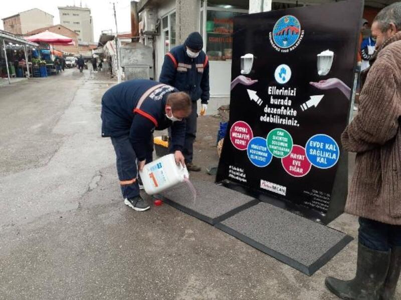 Uzunköprü'de 'el dezenfektan noktaları' oluşturuldu