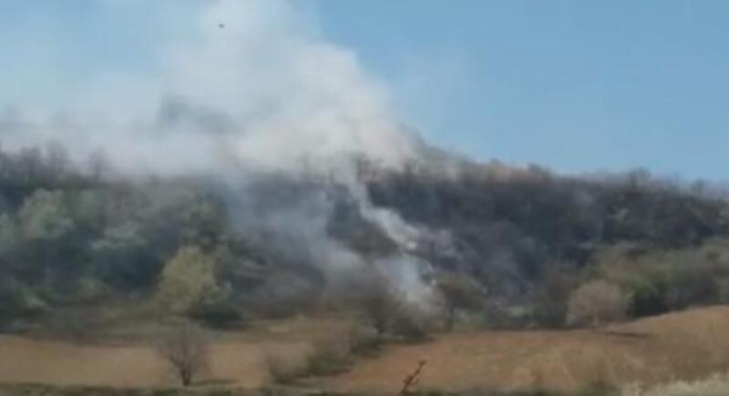 İnegöl'de 10 dönümlük arazide yangın