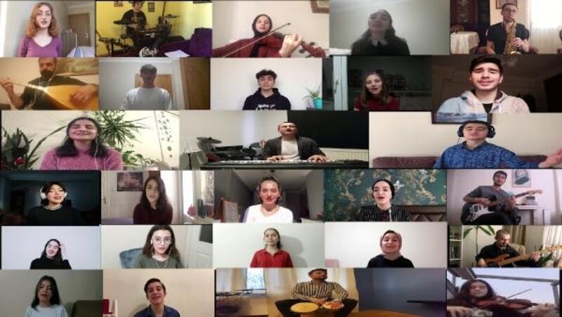 Öğrencilerin 'Evde Kal Türkiyem' şarkısı beğeni topladı