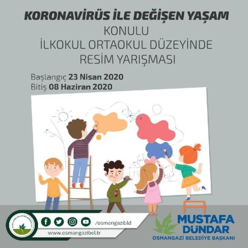 Evlerinde kalan çocuklar için resim yarışması