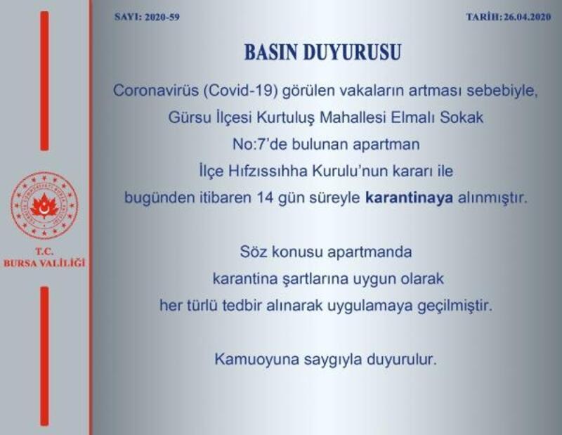 Bursa'da 1 apartman daha karantinaya alındı