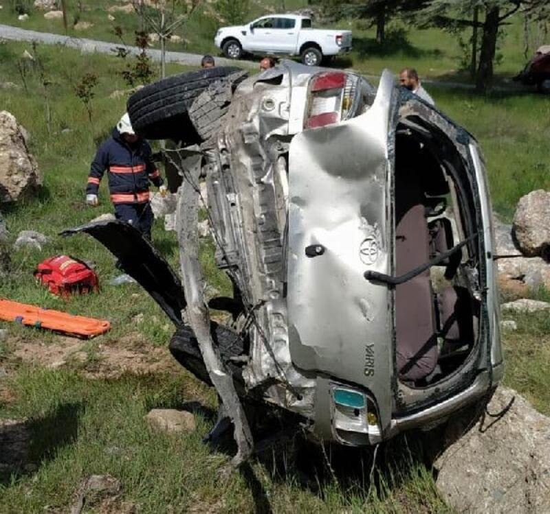 Malatya'da devrilen otomobilin sürücüsü yaralandı