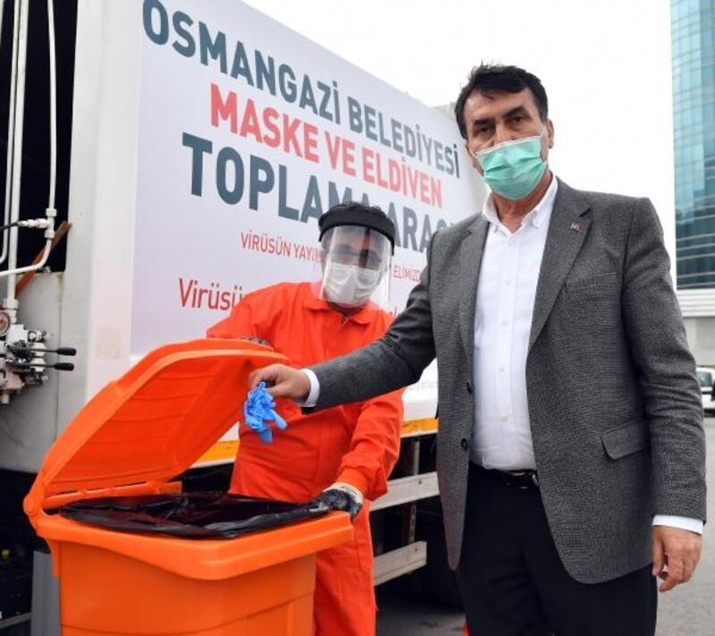 Osmangazi Belediyesi maske ve eldivenler için atık kutuları oluşturdu