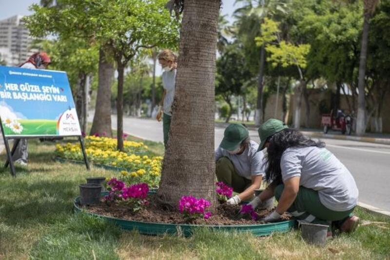 Kadınlar refüjleri çiçeklendiriyor