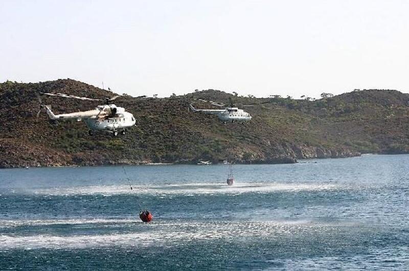KKTC'deki orman yangınına, Türkiye'den helikopterli müdahale