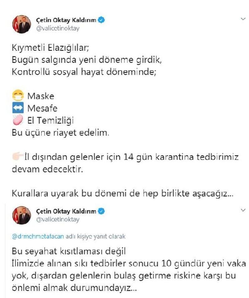 Elazığ Valisi Kaldırım: 10 gündür yeni vaka yok
