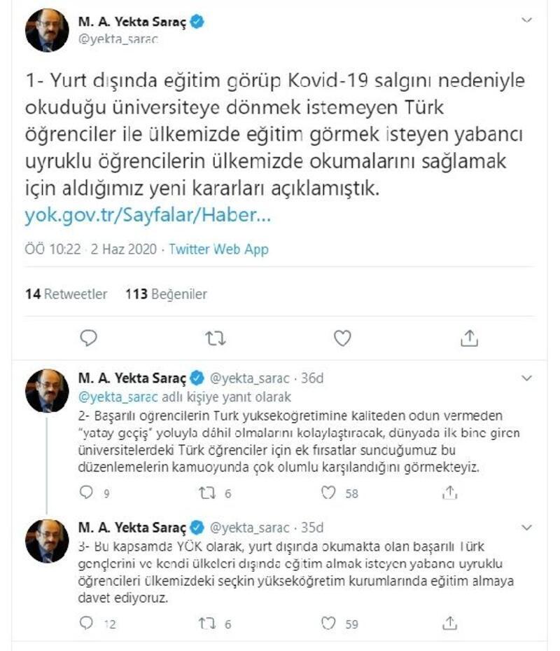 YÖK Başkanı Saraç, yurt dışındaki öğrencileri Türk üniversitelerine davet etti