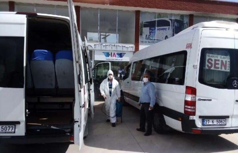 İslahiye'de otogar ve toplu taşıma araçları dezenfekte ediliyor